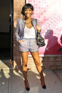 Brandy Norwood short waisted high waisted pants