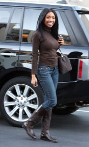 Brandy Norwood short waisted low waisted jeans