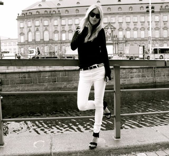 look white jeans black white