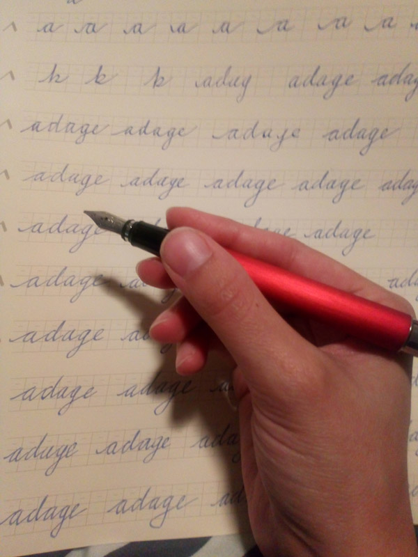 Calligraphy modified pen grip with fountain pens