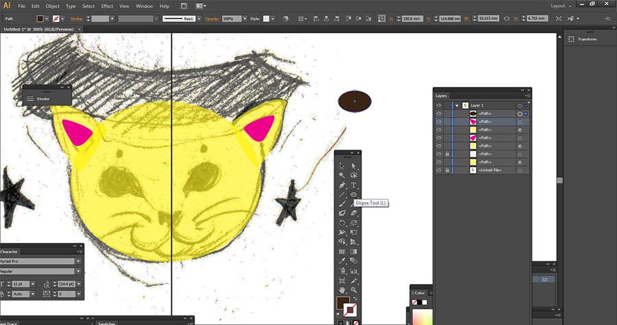 Symmetrical cat head illustration