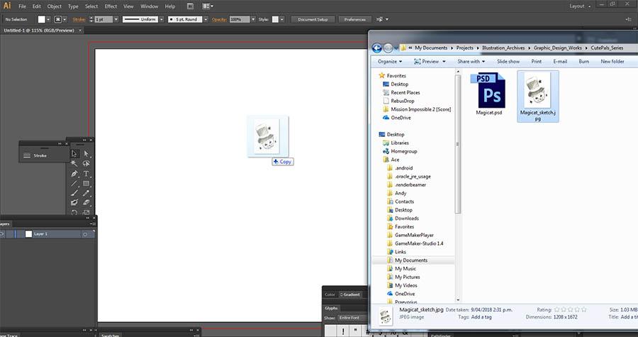 Dragging JPEG file into Adobe Illustrator