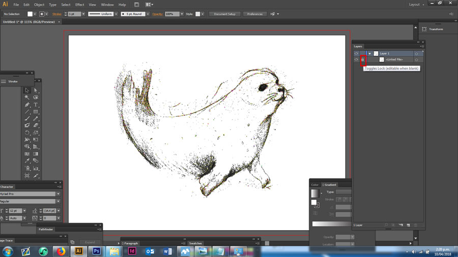 Starting our drawing in Adobe Illustrator