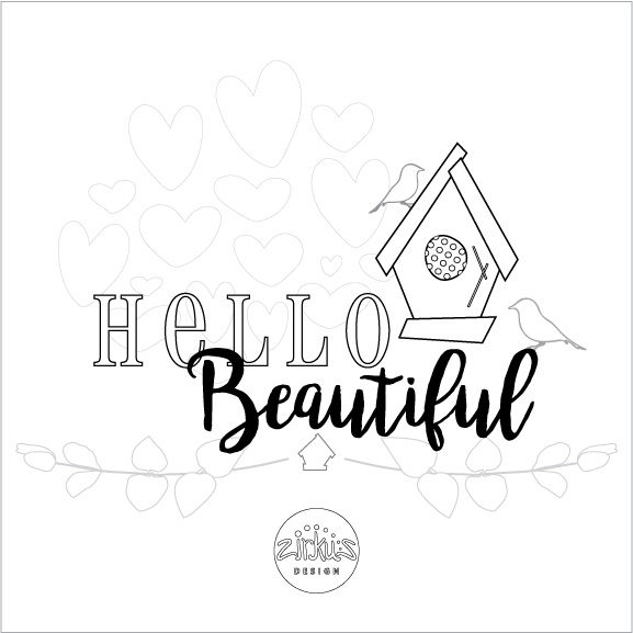 Zirkus Design | Free Printable Hello Beautiful Card to Color and Mail