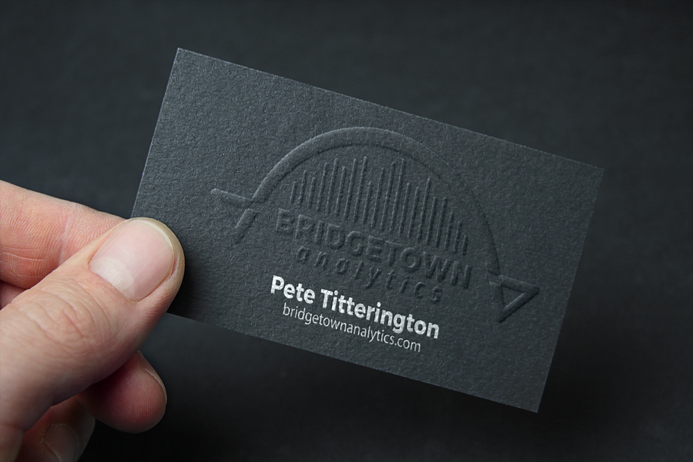 Zirkus Design | Logo Creation for Bridgetown Analytics - Embossed Business Card Mockup