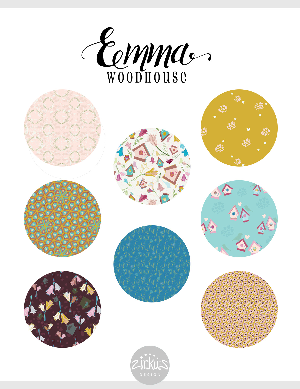 Zirkus Design | Emma Woodhouse Surface Pattern Design Collection Preview Sheet