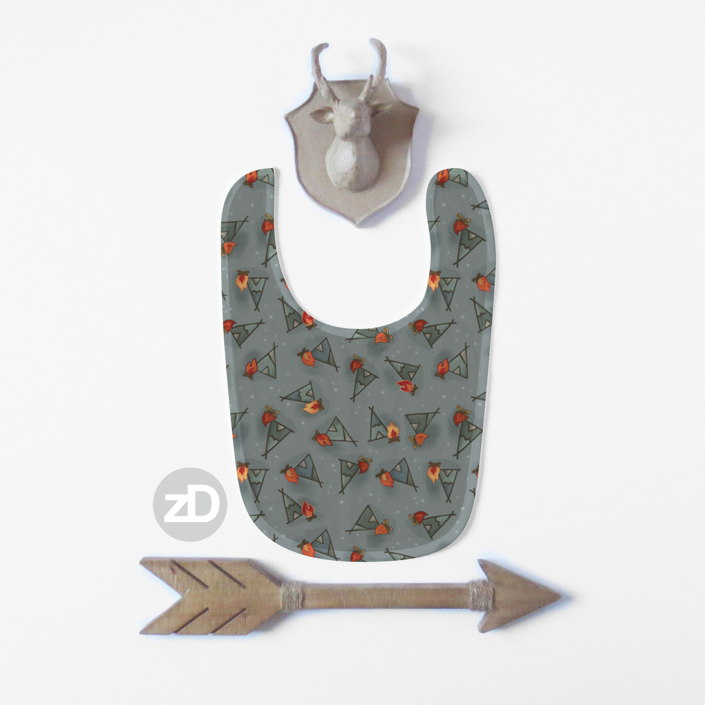 Zirkus Design | Cody Arizona Wild West Pattern Collection : TeePee Baby Bib Mockup
