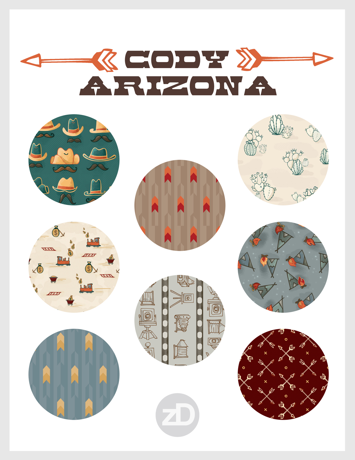 Zirkus Design | Cody Arizona Wild West Pattern Collection : Pattern Promo Sheet