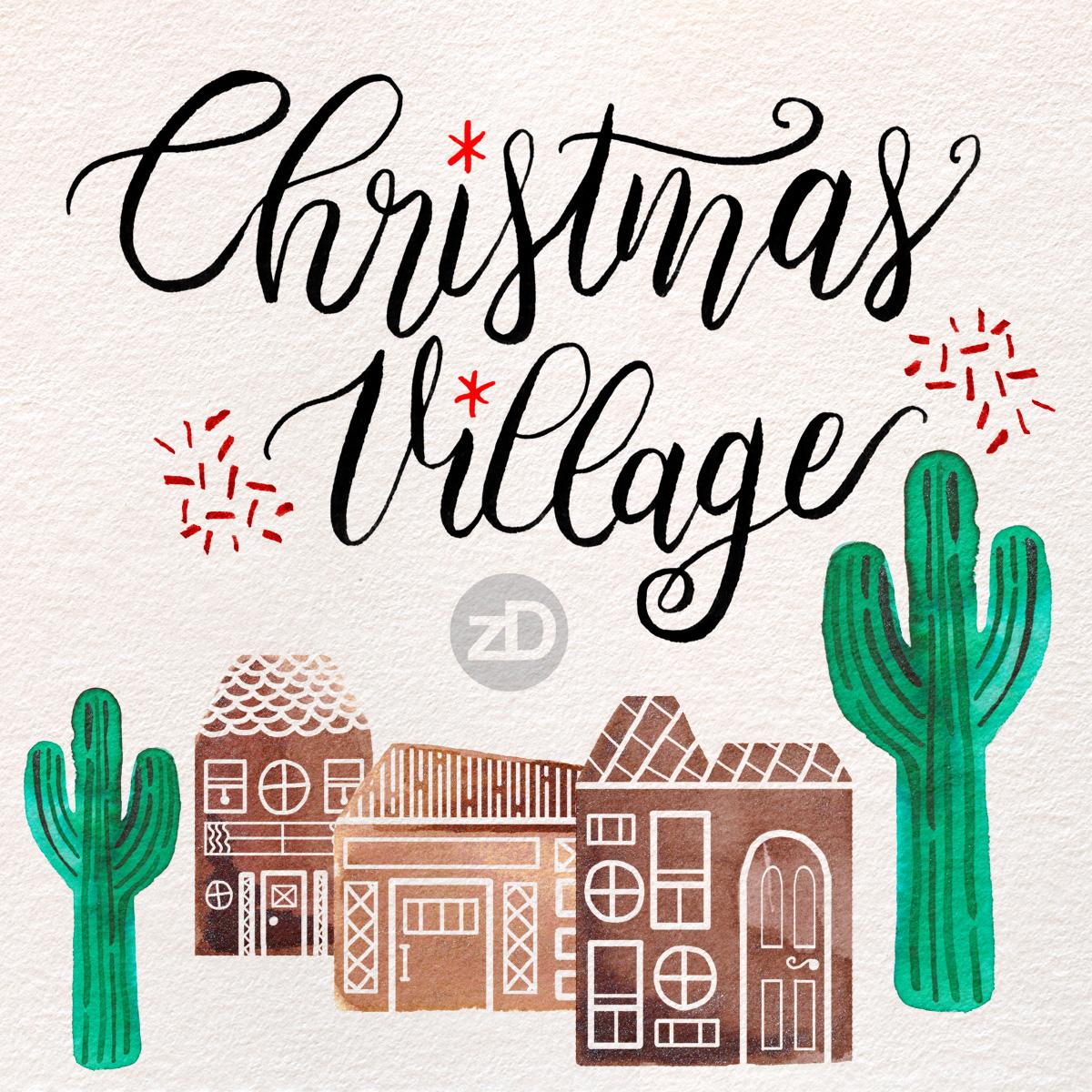 Zirkus Design   Advent Illustrations - Christmas Village - Watercolor, Gouache, Digital Painting, Lettering