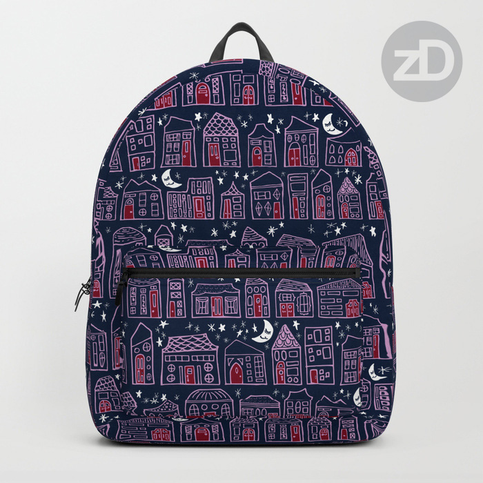 Zirkus Design | Starry Night in the City Pattern Available on a Custom Backpack by Society6