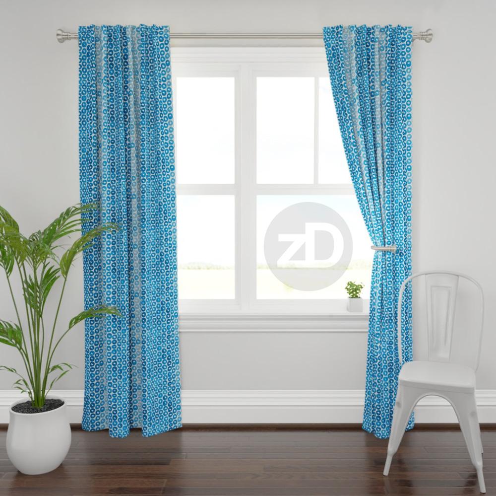 Zirkus Design | Indigo Vibes Summer Watercolor Surface Pattern Design Collection : Blue Cheerio Curtain Mockup