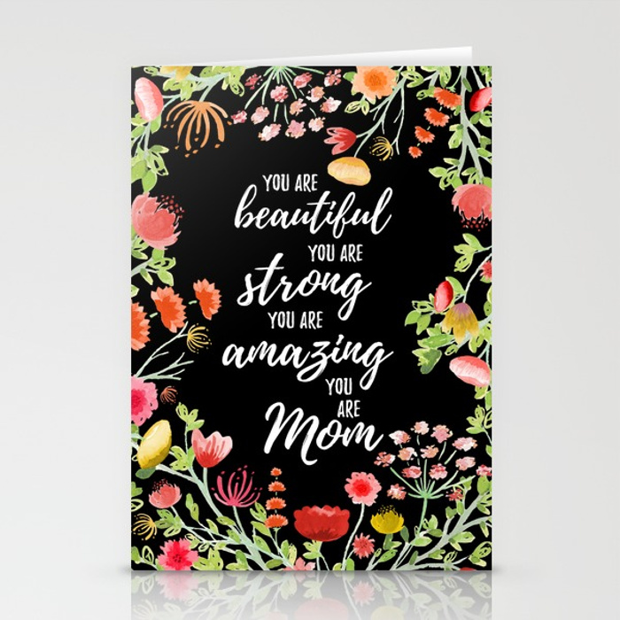 Zirkus Design   Hand Painted Elegant Watercolor Mother's Day Greeting Card (empowering message stationery mockup)
