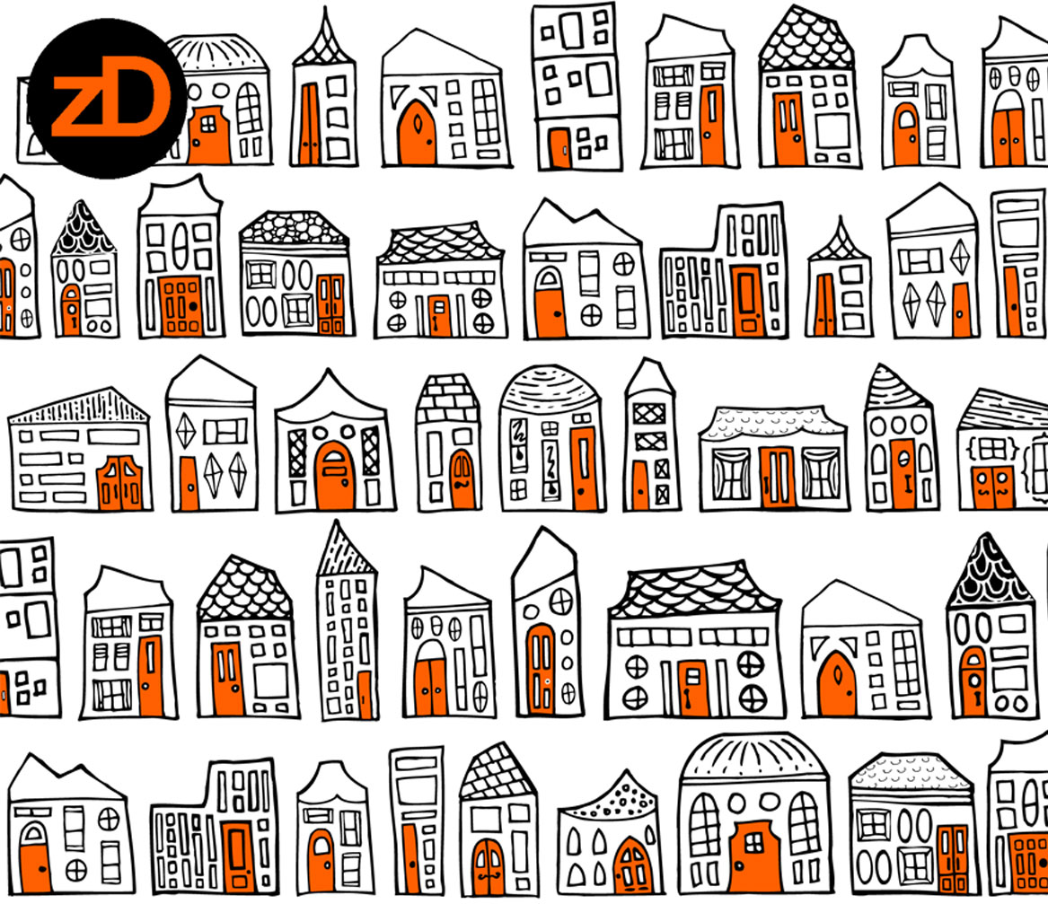 Zirkus Design | Starry Night in the City: Spoonflower Challenge Winner and New Pattern - Black, White, and Orange Version