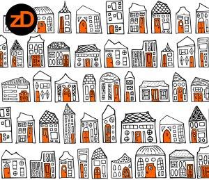 Zirkus Design   Starry Night in the City: Spoonflower Challenge Winner and New Pattern - Black, White, and Orange Version