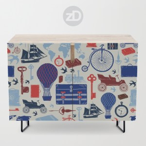 Zirkus Design   All Aboard to Explore Our Marvelous World - Society6 Credenza