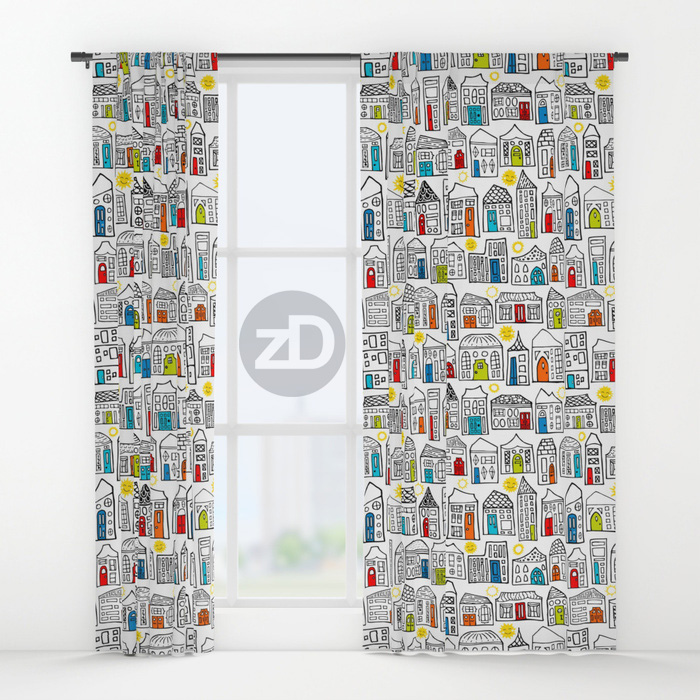 Zirkus Design | Happy City Pattern Available on Custom Window Curtains by Society6
