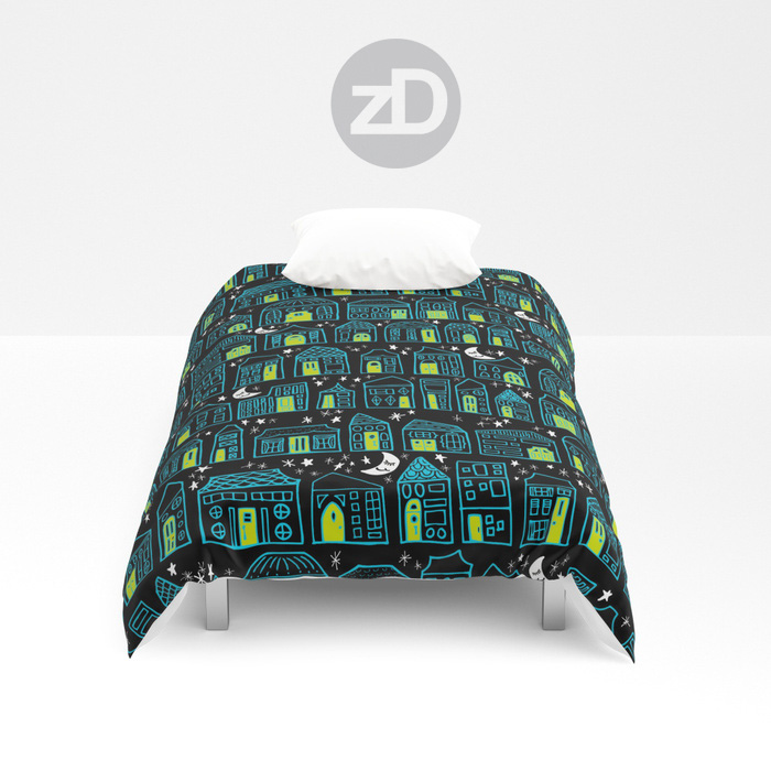 Zirkus Design | Happy City Pattern Available on Custom Comforter or Duvet by Society6