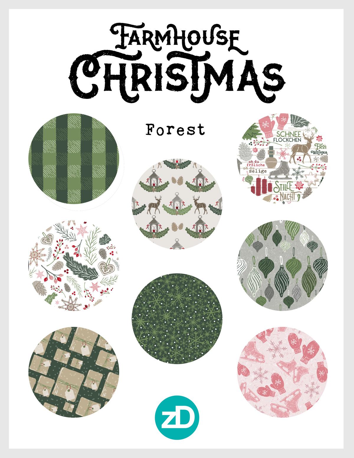 Zirkus Design   Warmest Wishes Farmhouse Christmas Pattern Design Collection - Forest