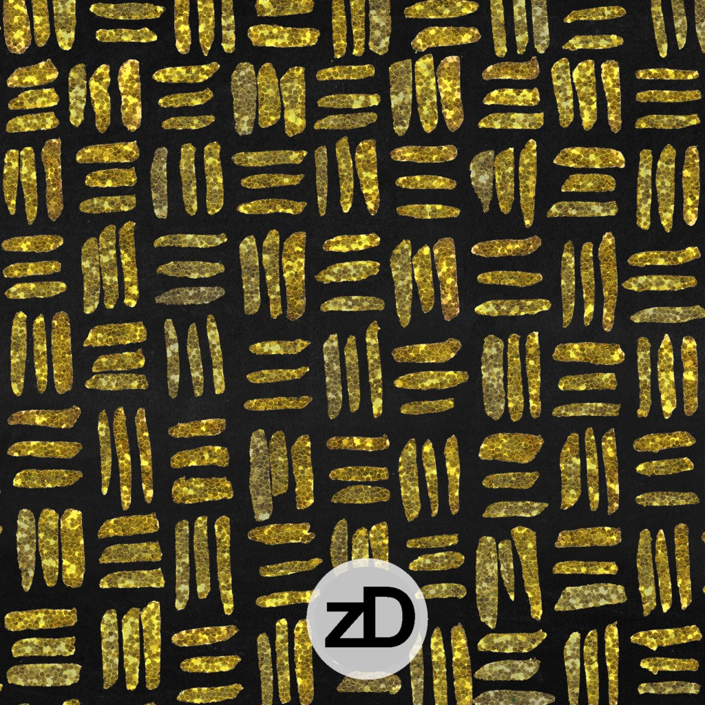 Zirkus Design | Indigo Vibes Summer Watercolor Surface Pattern Design Collection : Yellow Gold Glitter on Chalkboard Crosshatch Basket Weave Festive Holiday Background