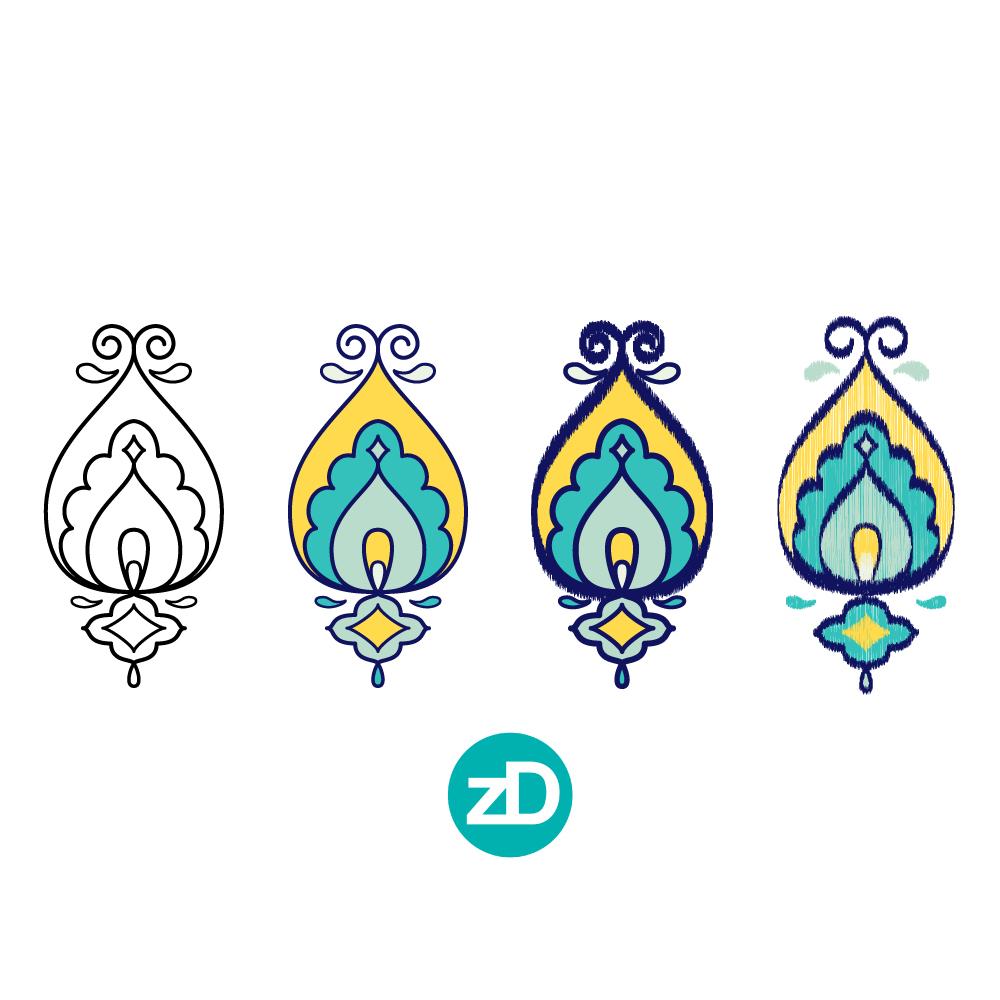 Zirkus Design   Surface Pattern Design Mini Ikat Collection : Tangier Teal Ikat Transformation Process
