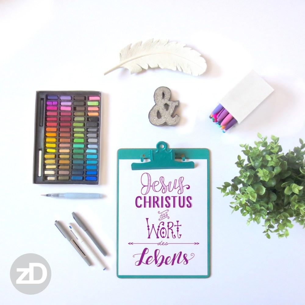 Zirkus Design   Hand Lettering : Jesus Christus das Wort des Lebens Mockup