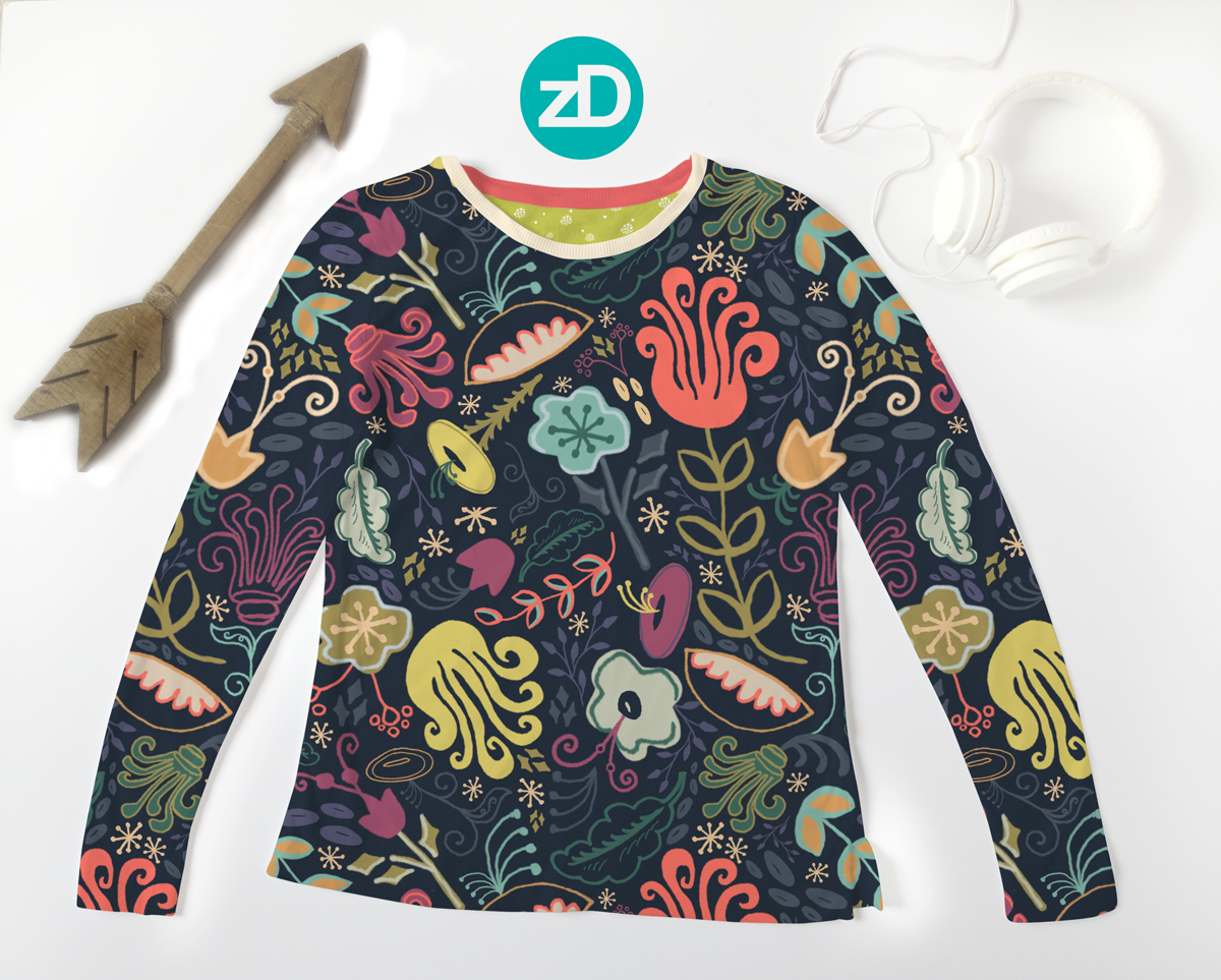 Zirkus Design   New Navy Vintage Floral Pattern - Design Process: Women's Long Sleeve T-Shirt Mockup