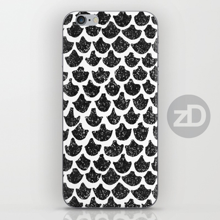 Zirkus Design | Indigo Vibes Summer Watercolor Surface Pattern Design Collection : Black Noir Mermaid Tail Glitter Glam iPhone Case