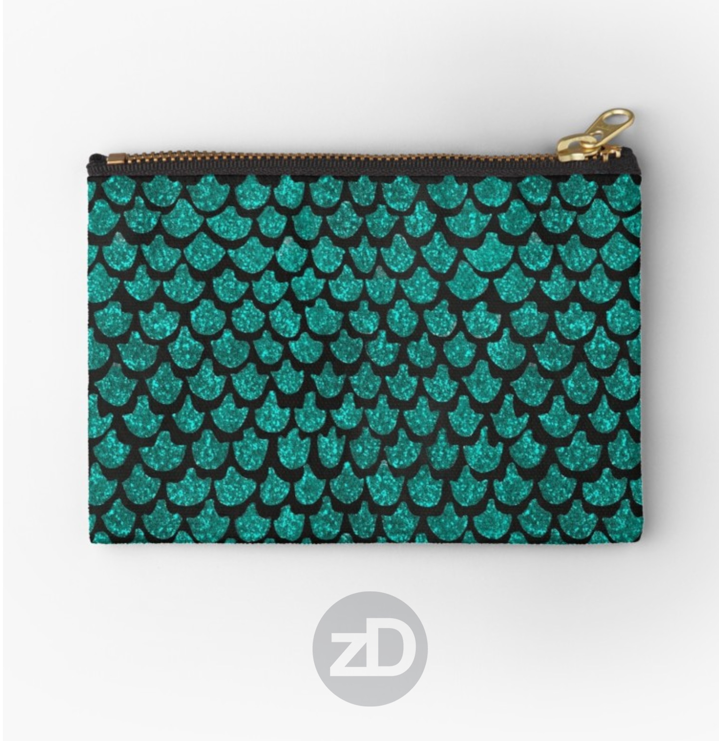 Zirkus Design | Indigo Vibes Summer Watercolor Surface Pattern Design Collection : Turquoise Mermaid Tail Glitter Glam Pouch from RedBubble