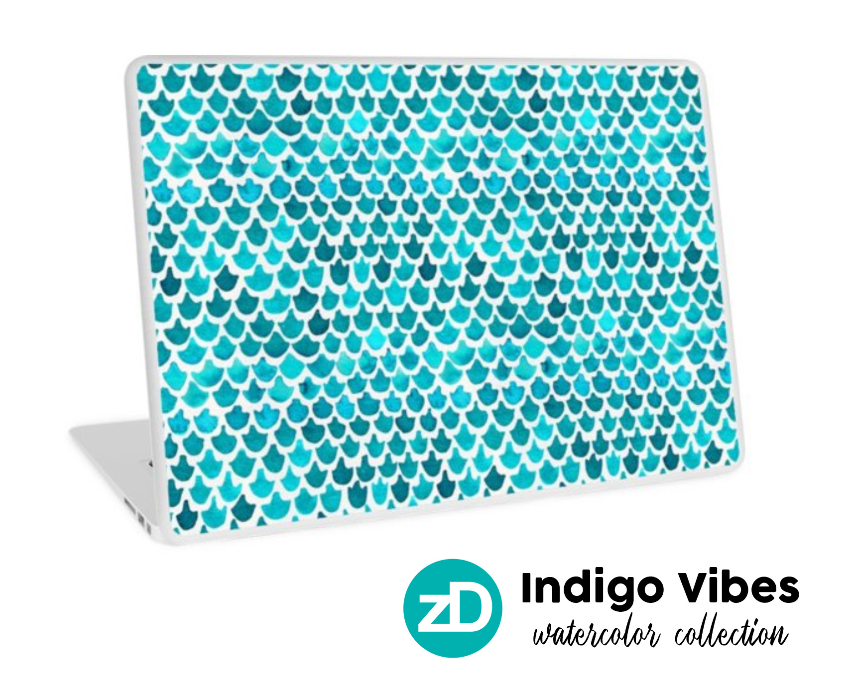 Zirkus Design | Indigo Vibes Summer Watercolor Surface Pattern Design Collection : Laptop Sticker Mockup