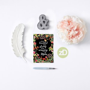 Zirkus Design | Hand Painted Elegant Watercolor Mother's Day Greeting Card (stationery mockup)
