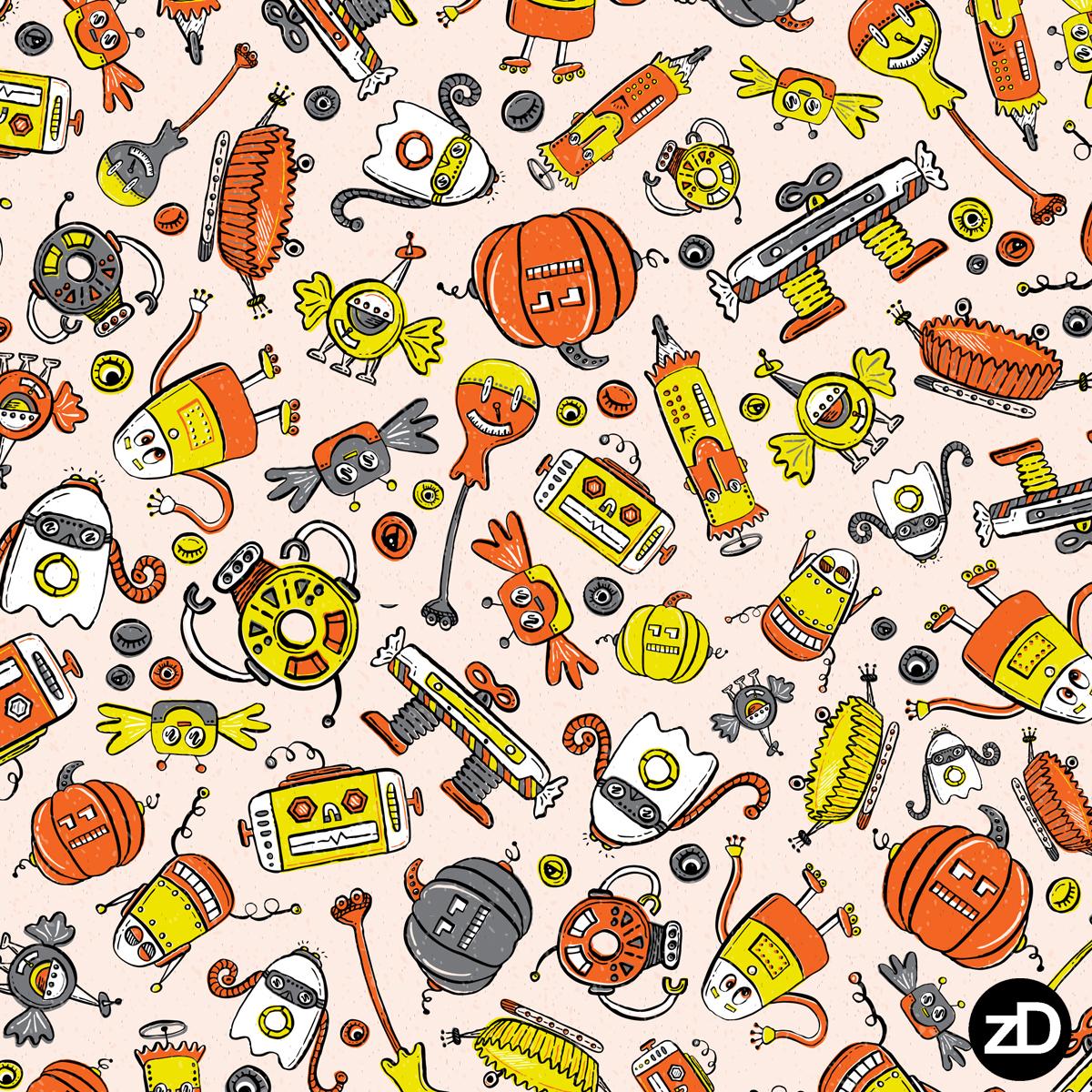 Zirkus Design | Halloween Candy Robots Collection - Three Color Halloween Fabric - SCATTER