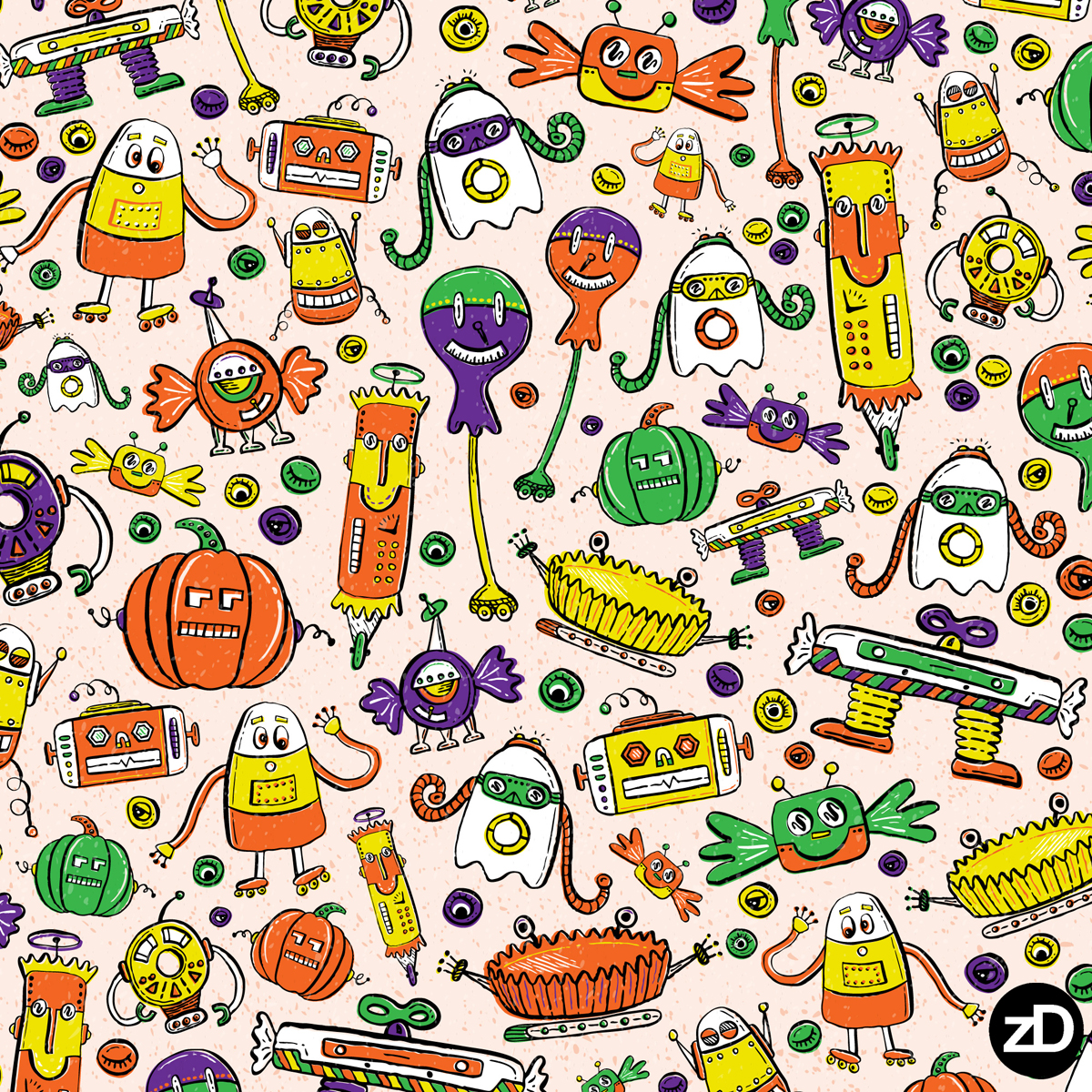 Zirkus Design | Halloween Candy Robots Collection - Five Color Fabric