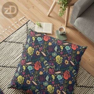 Zirkus Design | Funky Vintage Floral Collection: A Groovy Retro Feel in Salmon, Apricot, Navy, and Olive (Pillow Mockup)