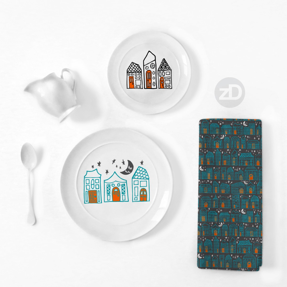 Zirkus Design | Starry Night in the City: Spoonflower Challenge Winner and New Pattern - Kitchenware mockup - plate, textiles, towel, dishware