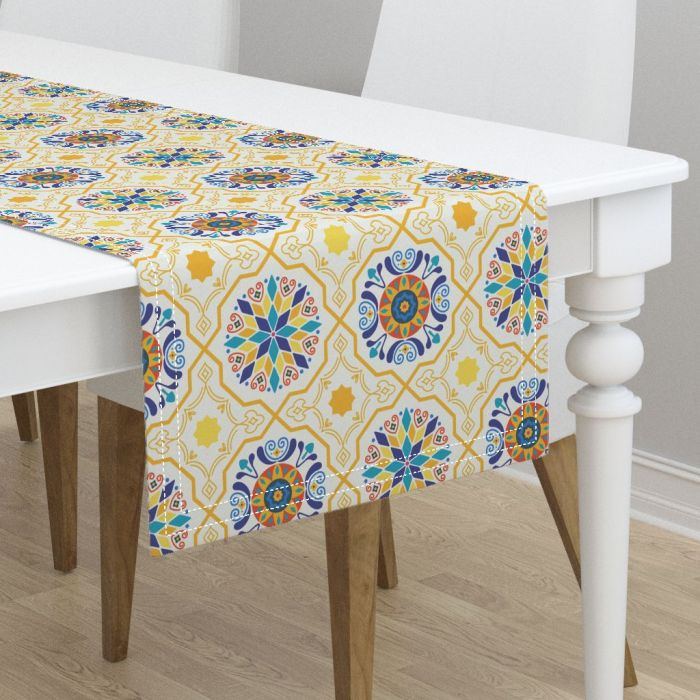 Zirkus Design | Sunny Spanish Tiles in Butter Yellow and IndigoPattern Available on Custom Tablecloths, Runners, Bedding, Kitchen Textiles, and More from Roostery
