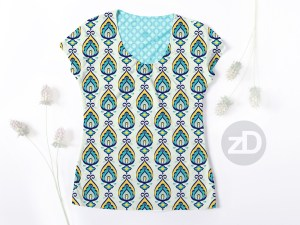 Zirkus Design | Surface Pattern Design Mini Ikat Collection : Tangier Teal Women's Scoop Neck T-Shirt