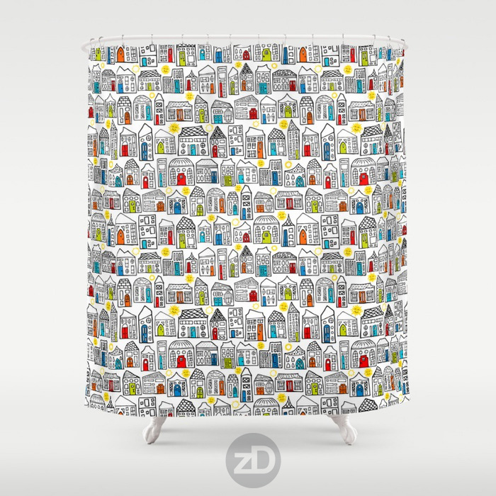 Zirkus Design |Happy City Pattern Available on Custom Shower Curtain by Society6
