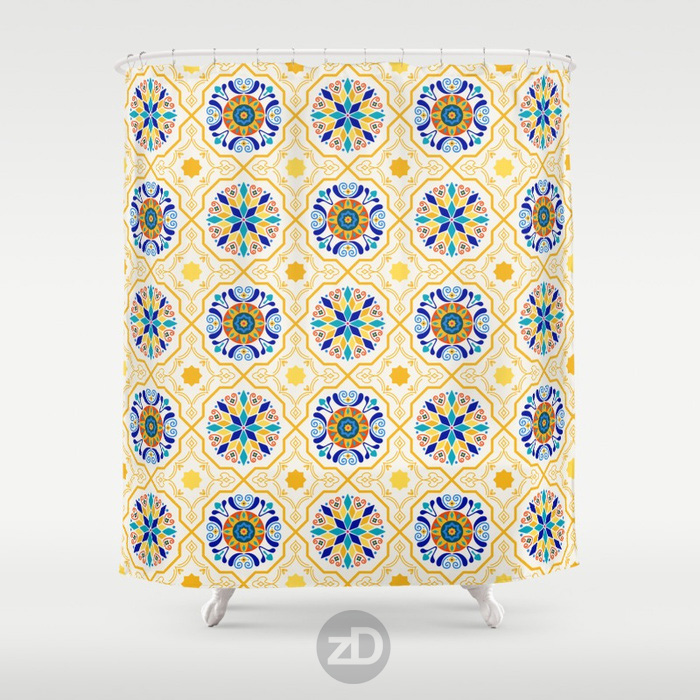Zirkus Design | Sunny Spanish Tiles in Butter Yellow and IndigoPattern Available on Custom Shower Curtain by Society6