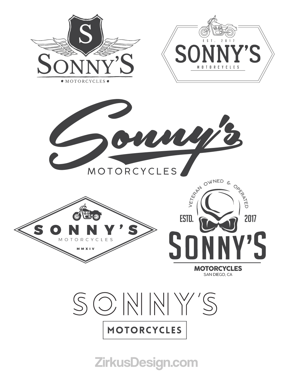 Zirkus Design | Logo Design for Veteran - Owned Businesses - Sonny's Motorcycles : All Six Logo Concepts