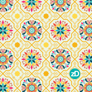 Zirkus Design   Cheery Modern Moorish Tiles Fabric Design - Intermediate Color Palette