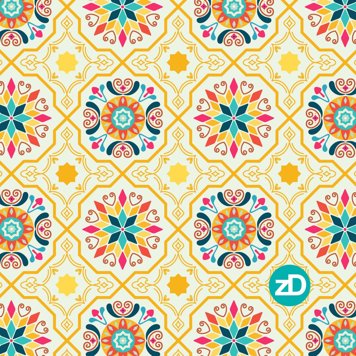 Zirkus Design | Cheery Modern Moorish Tiles Fabric Design - Intermediate Color Palette