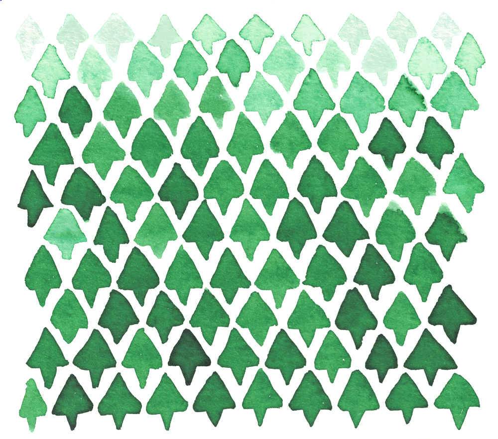 Zirkus Design | Indigo Vibes Summer Watercolor Surface Pattern Design Collection : Forest Green Triangle Tree Watercolor Original Scan