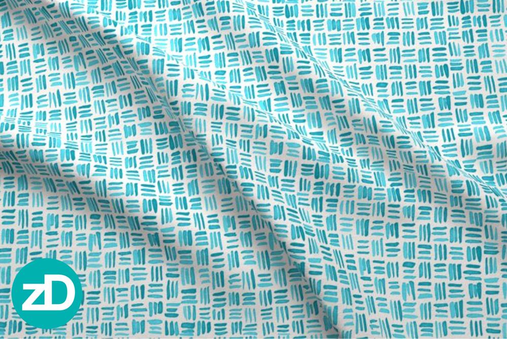 Zirkus Design   Indigo Vibes Summer Watercolor Surface Pattern Design Collection : Turquoise Watercolor Crosshatch Basket Weave Fabric