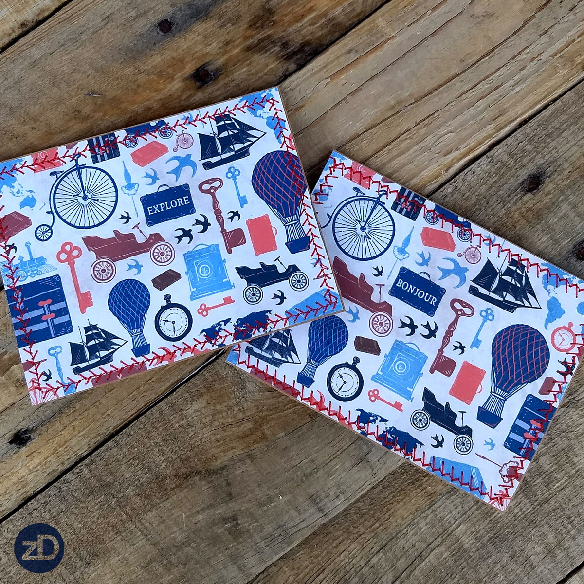 Zirkus Design | All Aboard to Explore Our Marvelous World - Victorian Travel Hand Sewn Stationery - Two Versions