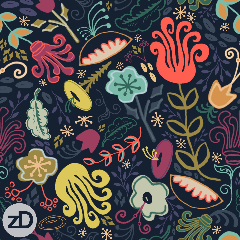 Zirkus Design   New Navy Vintage Floral Pattern - Design Process: Finished Repeat Pattern Design