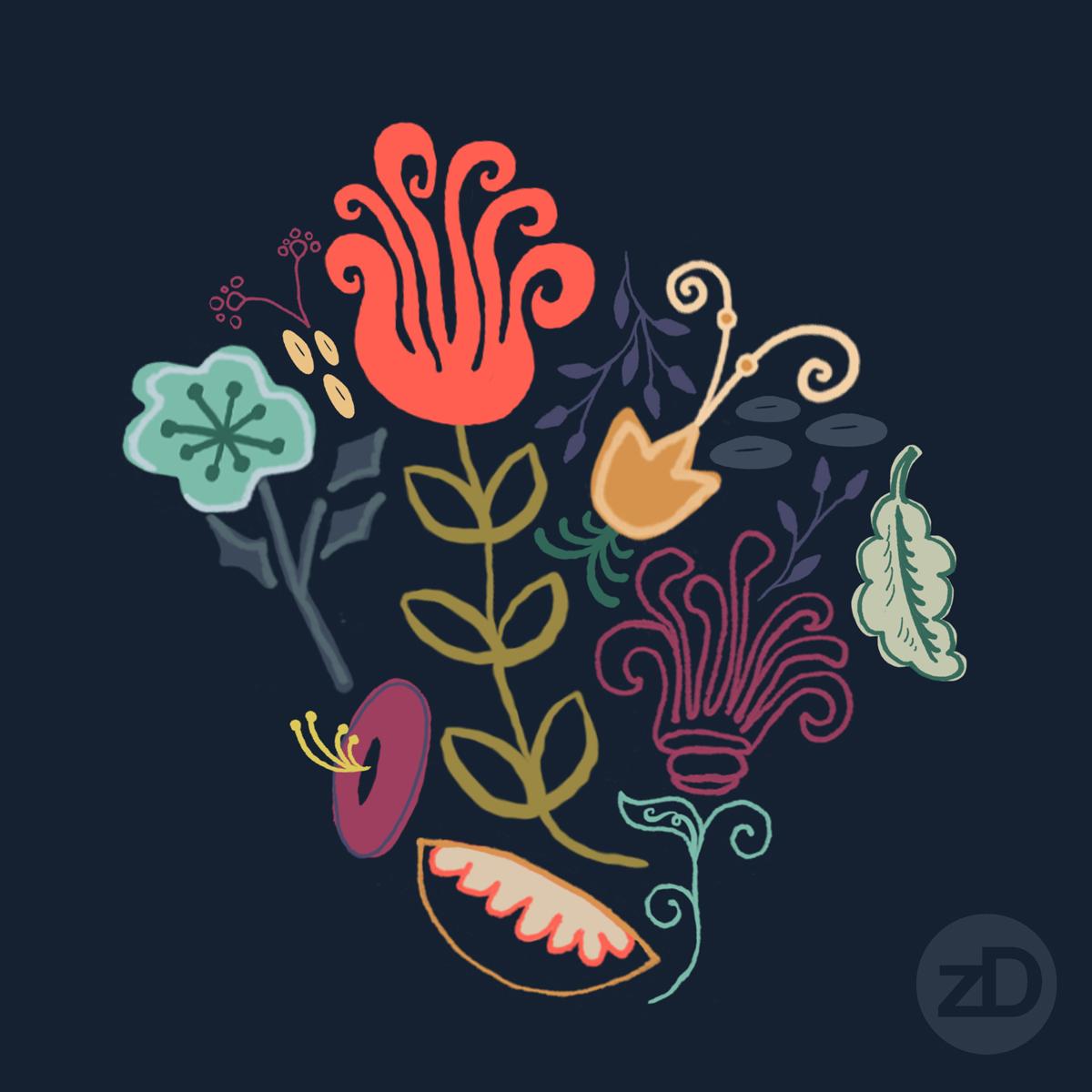 Zirkus Design   New Navy Vintage Floral Pattern - Design Process: Initial Repeat Pattern Motif Grouping
