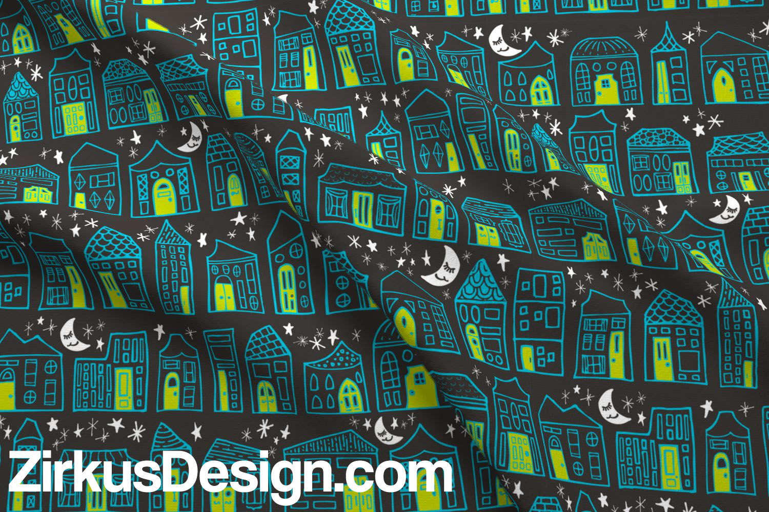 Zirkus Design | Happy City Pattern Collection - Welcome Home! - in Lime, Turquoise, and Charcoal
