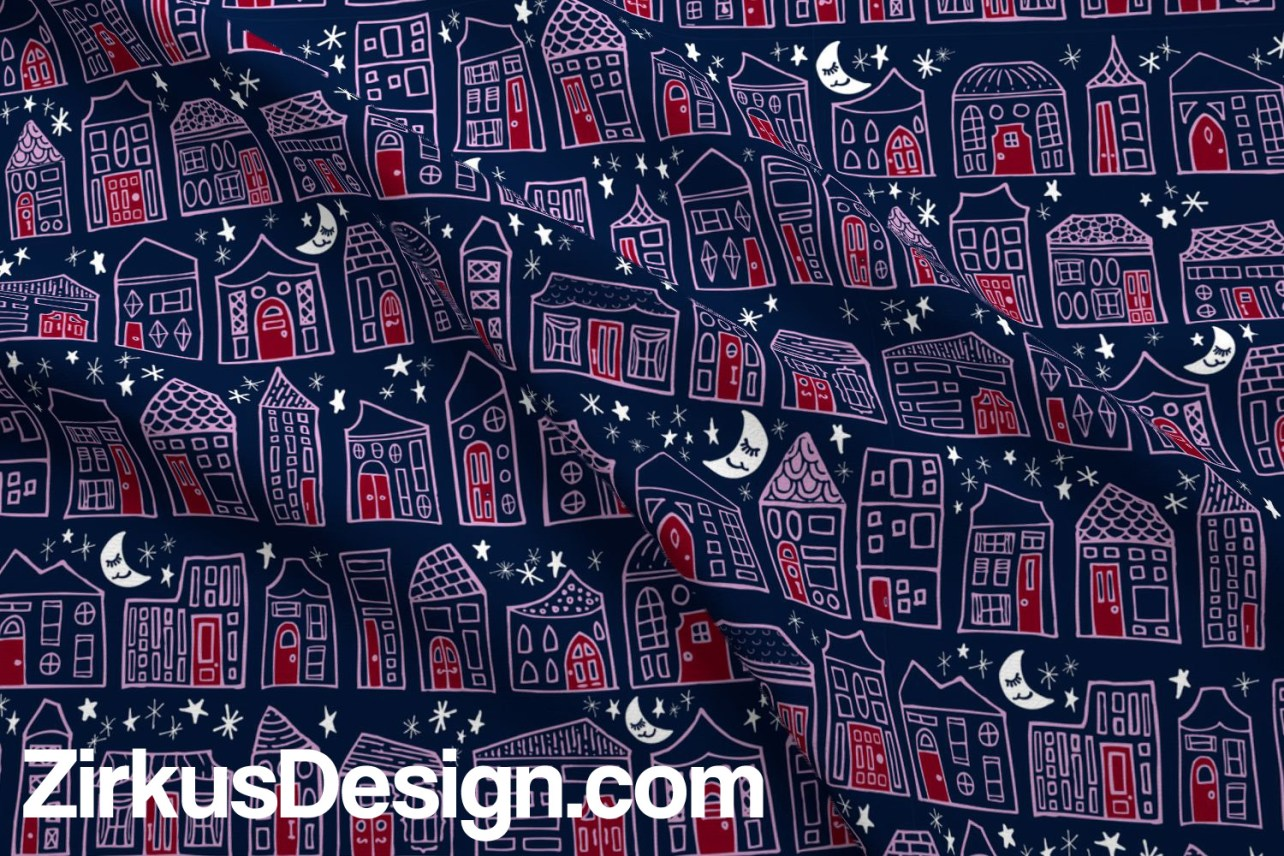 Zirkus Design   Happy City Pattern Collection - Welcome Home! - Starry Night in Navy, Orchid, and Maroon