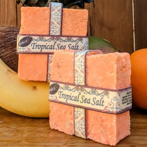 Two Tropical Sea Salt Soaps with Tropical Fruit