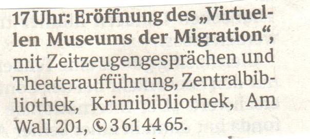 Eröffnung des Virtuellen Museums der Migration, Weser Kurier 24.10.2018 (© ZIS)